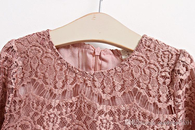 Cabritos de las muchachas del cordón del vestido de la niña de flores bordado ahueca hacia fuera los vestidos de la princesa del vestido infantil de la manga llena de otoño 2020 ropa de los niños con encanto