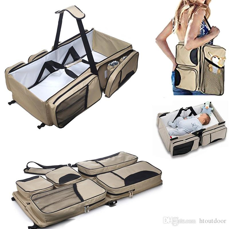 3 in 1 Multifunction Mummy Handbag Outdoor Travel Baby Infant Nursery Crip Diaper Nappy Changing Bag Pack Movement Folding Baby Bed