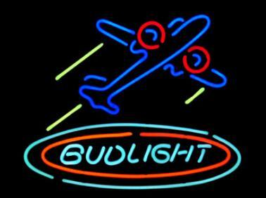 "Bud Light Airplane Plane Aircfaft Neon Sign Custom Handmade Real Glass Hotel Motel Beer Bar KTV Club Store Display Neon Signs 19""X15"""