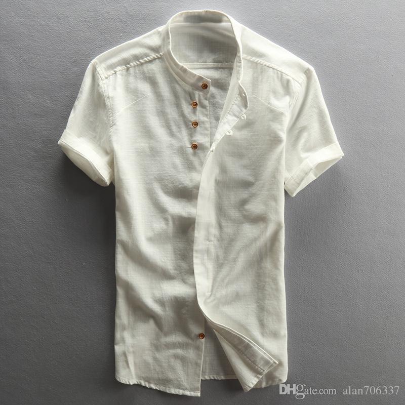 817d14f38 Men's Cotton Linen Casual Slim Shirts Short Sleeve China Style Stand Collar  Shirts Male Summer Fashion Shirts Asian Size TS-188