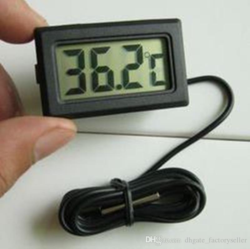 Mini thermomètre petit numérique LCD Capteur Combo Capteur filaire Aquarium Thermomètre Thermomètre Congélateur -50 ~ 110C Contrôleur noir bateau libre