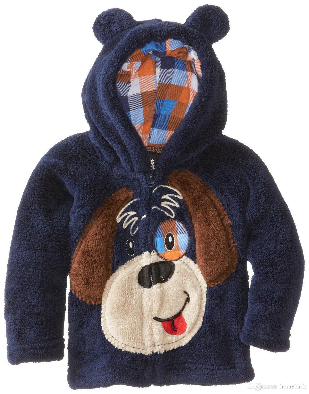 Осень и зима Новый коралловый кашемир вышивка мультфильм Детская одежда молния куртка с капюшоном мальчик пальто