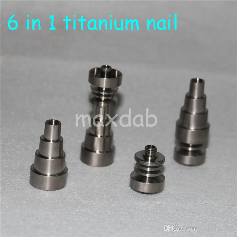 Universal Titanium Nail 10&14& 19mm 6 in 1 Adjustable Male or Female joint Carb Cap nails for Glass Pipe Bong