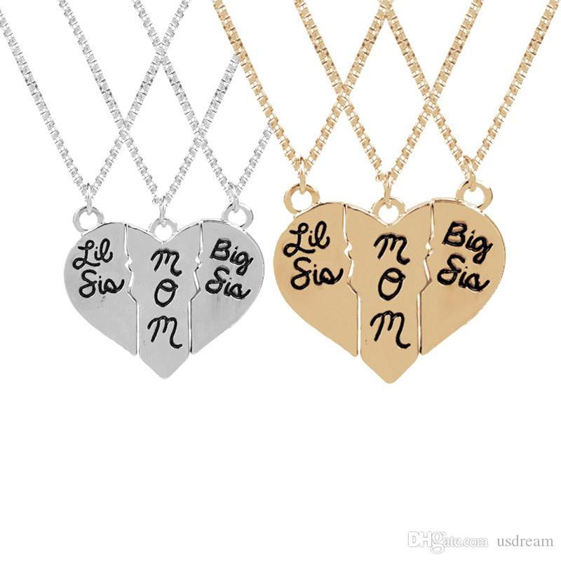 e08a68c1b Wholesale Big Sis Lil Sis Mom Love Heart Necklace Silver Gold Letter Mother  Daughter Pendants Best Sisters Jewelry For Women DROP SHIP 162122 Pendants  Gold ...