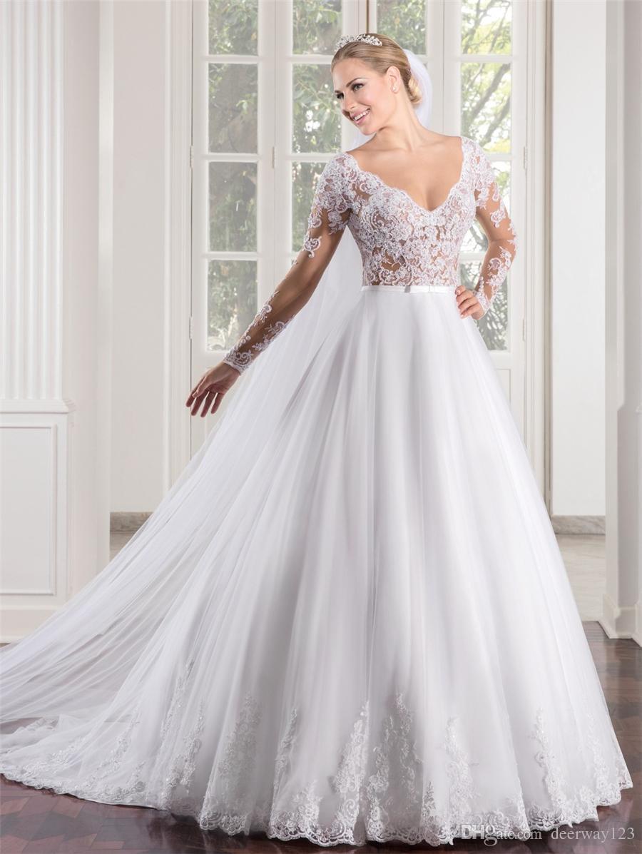 Vestido de Noiva See Through A-ligne Corsage Sexy manches longues robe de mariée en dentelle Casamento Chine Appliques Robes de mariée