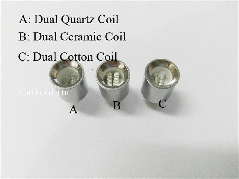 Cannon coil Dual Ceramic wax coils for cannon vaporizer atomizer vape double coil Quartz rod wax Glass globe metal vase cartomizer