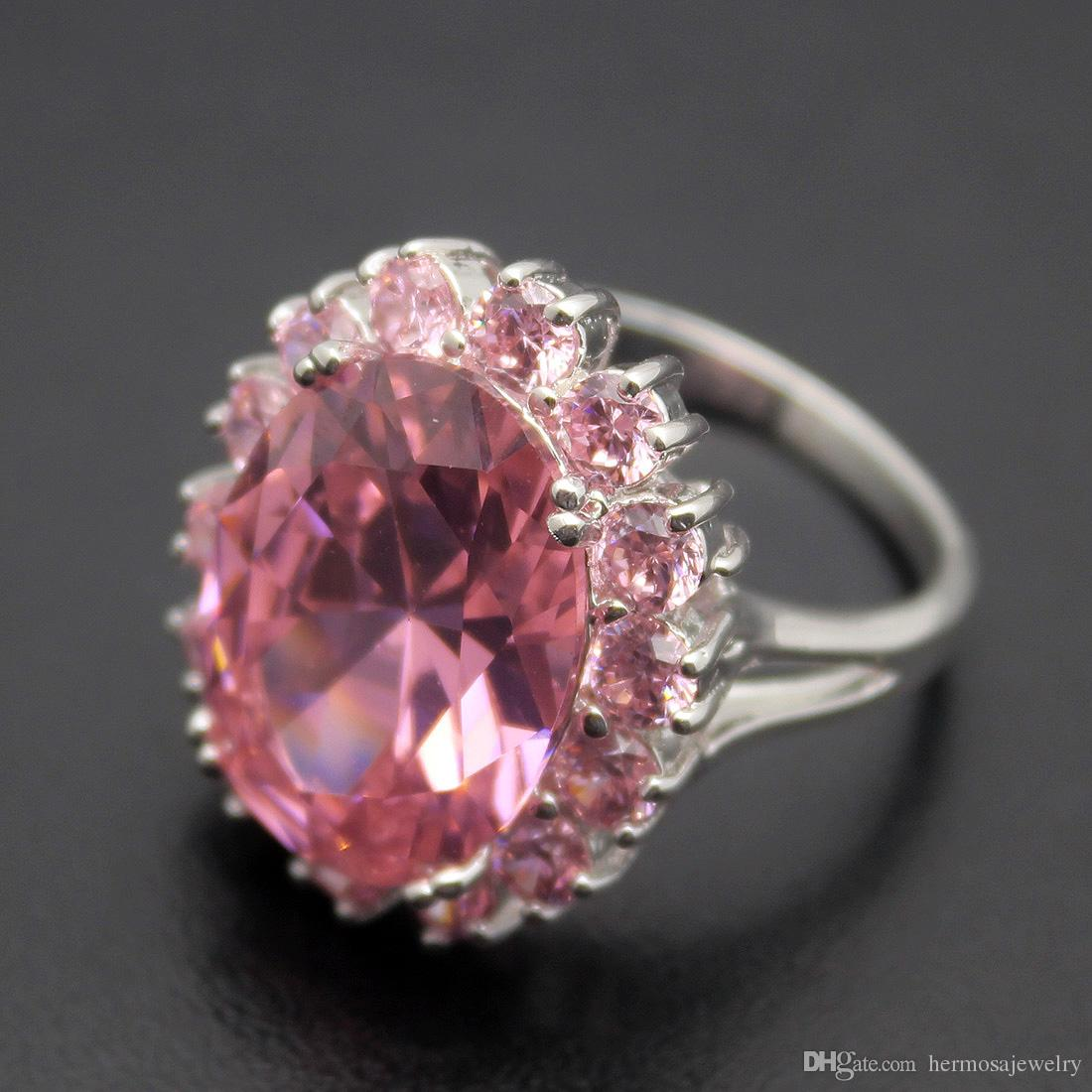 Wedding Band Ring 925 Sterling Silver Wedding Pink Topaz Kunzite Gemstone Crystal Sparkle wholesale Ring Size 7 8 9