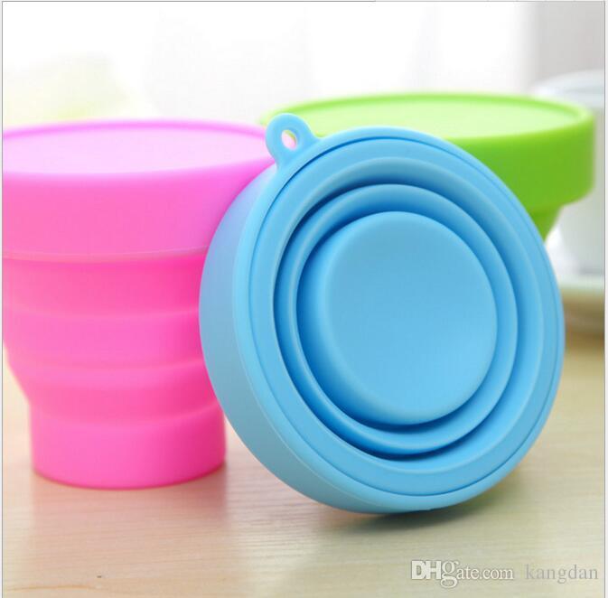 Taşınabilir katlanmış açık şarap bardağı Teleskopik Katlanabilir fincan ayarlanabilir silikon su şişesi novely flask çocuklar hediye kupalar