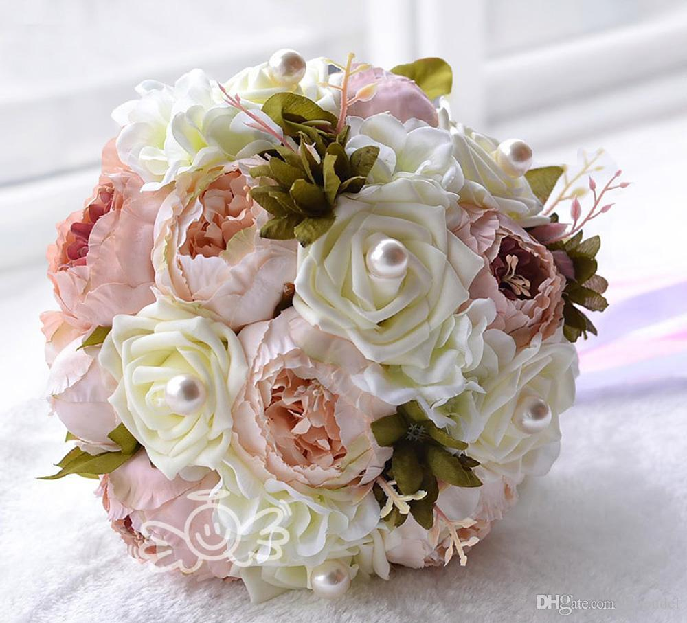 Chocolate Pink Peony Artificial Bridal Flower Wedding Bouquet