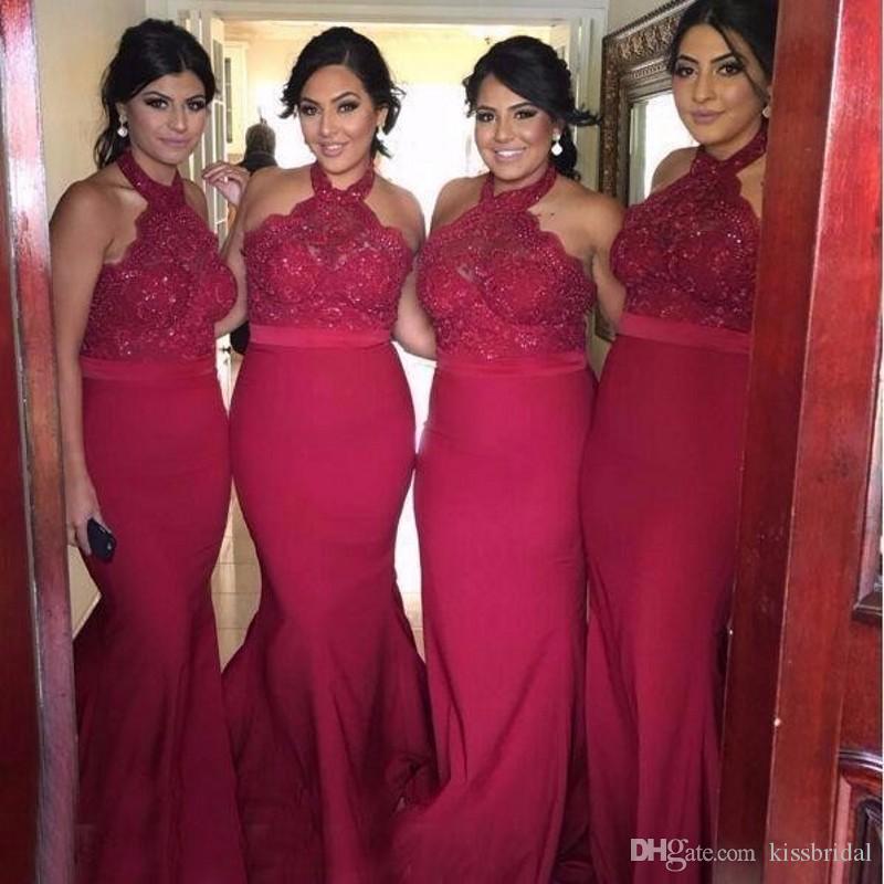 Красные русалки кружевные платья невесты платья Halter шеи атласные оболочки длинные платья выпускного вечера формальные вечерние платья
