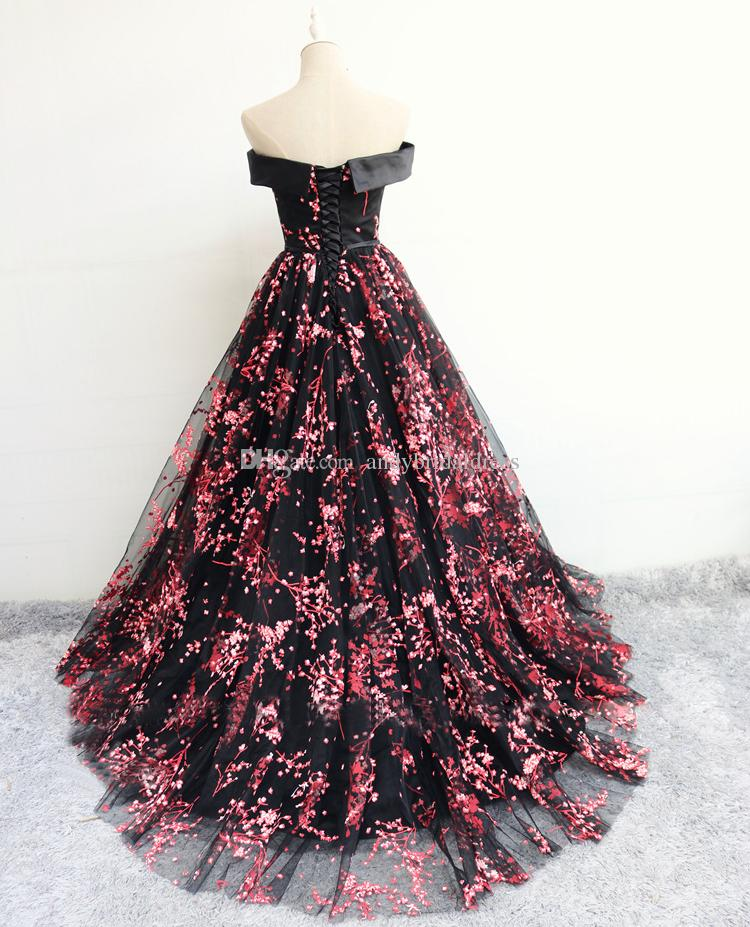 2018 New Design Off the Shoulder Prom Dresses Evening Gown Flower Pattern Ball Gown Party Quinceanera Dresses