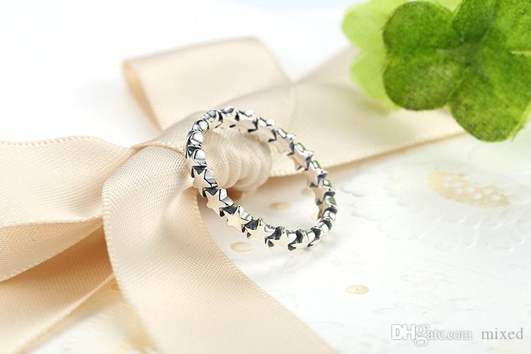 BAMOER Star Trail Impilabile anello le dita le donne da sposa Collezione di gioielli in argento sterling 925% PA7151