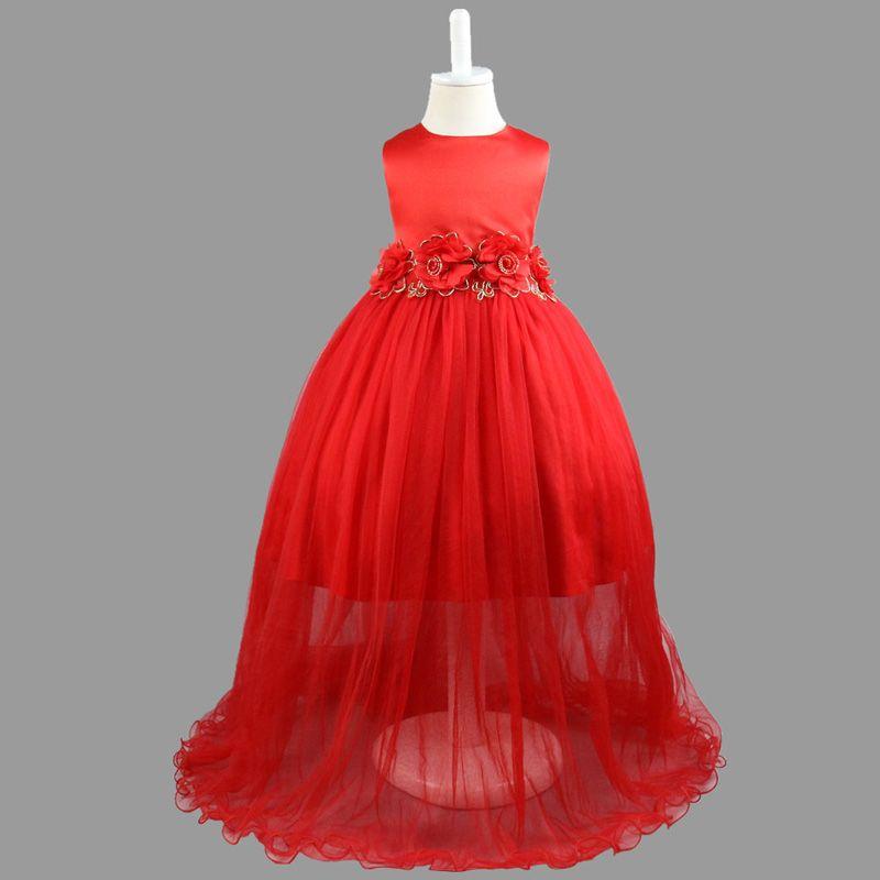 44e14484361b Kids Clothing Children Girls Dresses Elegant Flower Lace Long Dress ...