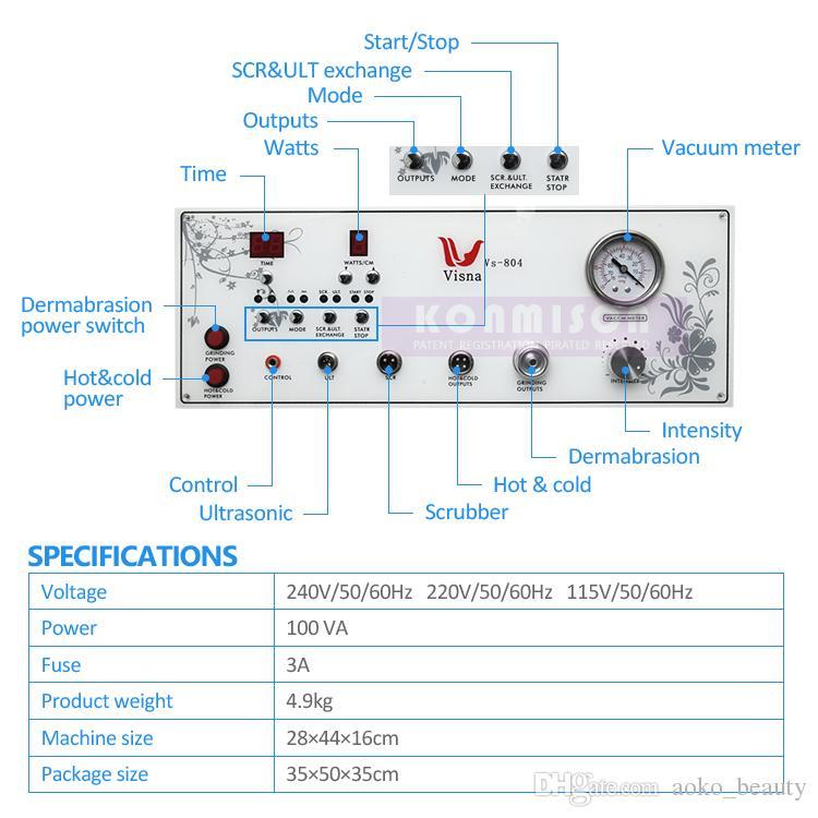 4 en 1 máquina de la microdermabrasión del diamante del rejuvenecimiento de la piel para la venta con ultrasonido HotCold HammerSkin Scrubber Dermabrasion