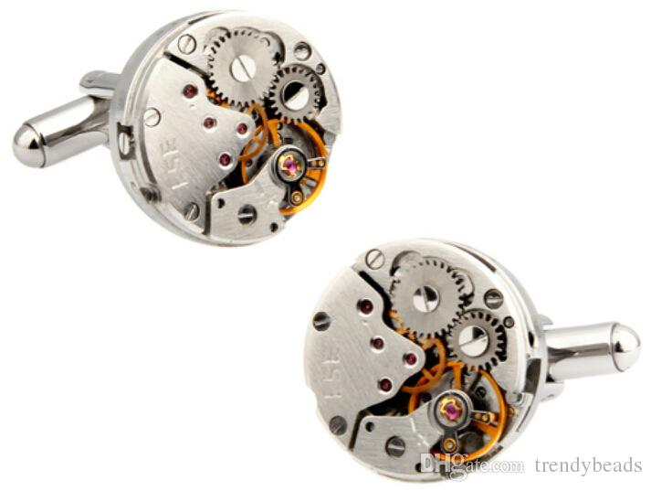 Mechanical Watch Movement Steampunk Mens Wedding Vintage Gold Plated Cufflinks Sleeve Nail French Business Shirt Cuff Links Gift