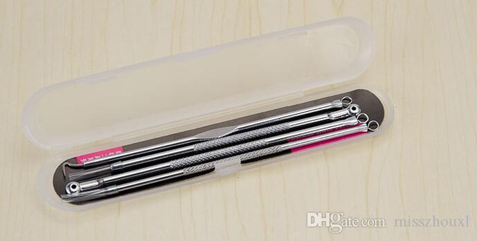 4 Adet / takım Araçları Kiti Akne Çıkarıcı Remover Siyah Nokta Sivilce İğneler Leke Tedaviler gümüş paslanmaz çelik iğne