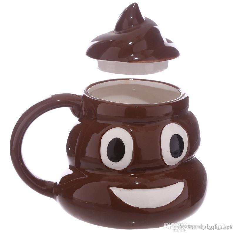 2017 Creative Ceramic Kawaii Emoji Coffee Tea Cup Porcelain Emoji Water Cup Shit Mug Novelty Gifts Shit Mug With Cover 24pcs