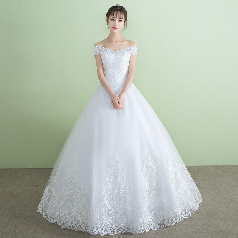 Discount Wedding Dress Elegant White Boat Neck Short Sleeves Lace Up ...
