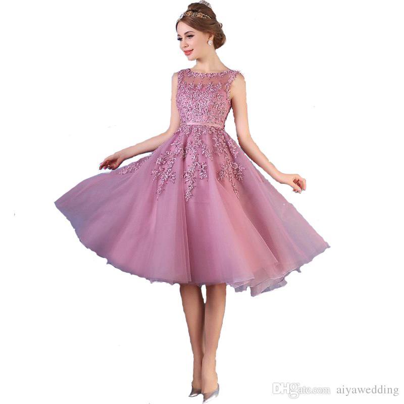 2019 barato nova tripulação pescoço lace a linha na altura do joelho vestidos de baile de organza applique frisado curto vestido de festa vestidos de noite