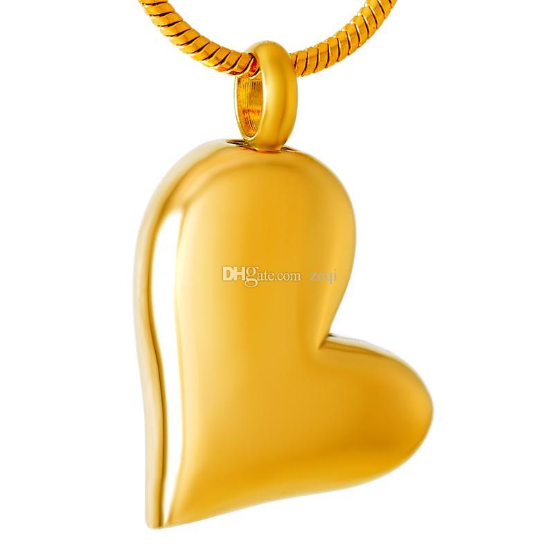 IJD8032 Gravure Gratuite Coeur Blanc En Acier Inoxydable Crémation Pendentif Collier Cendre Souvenir Mémoire Urne Collier