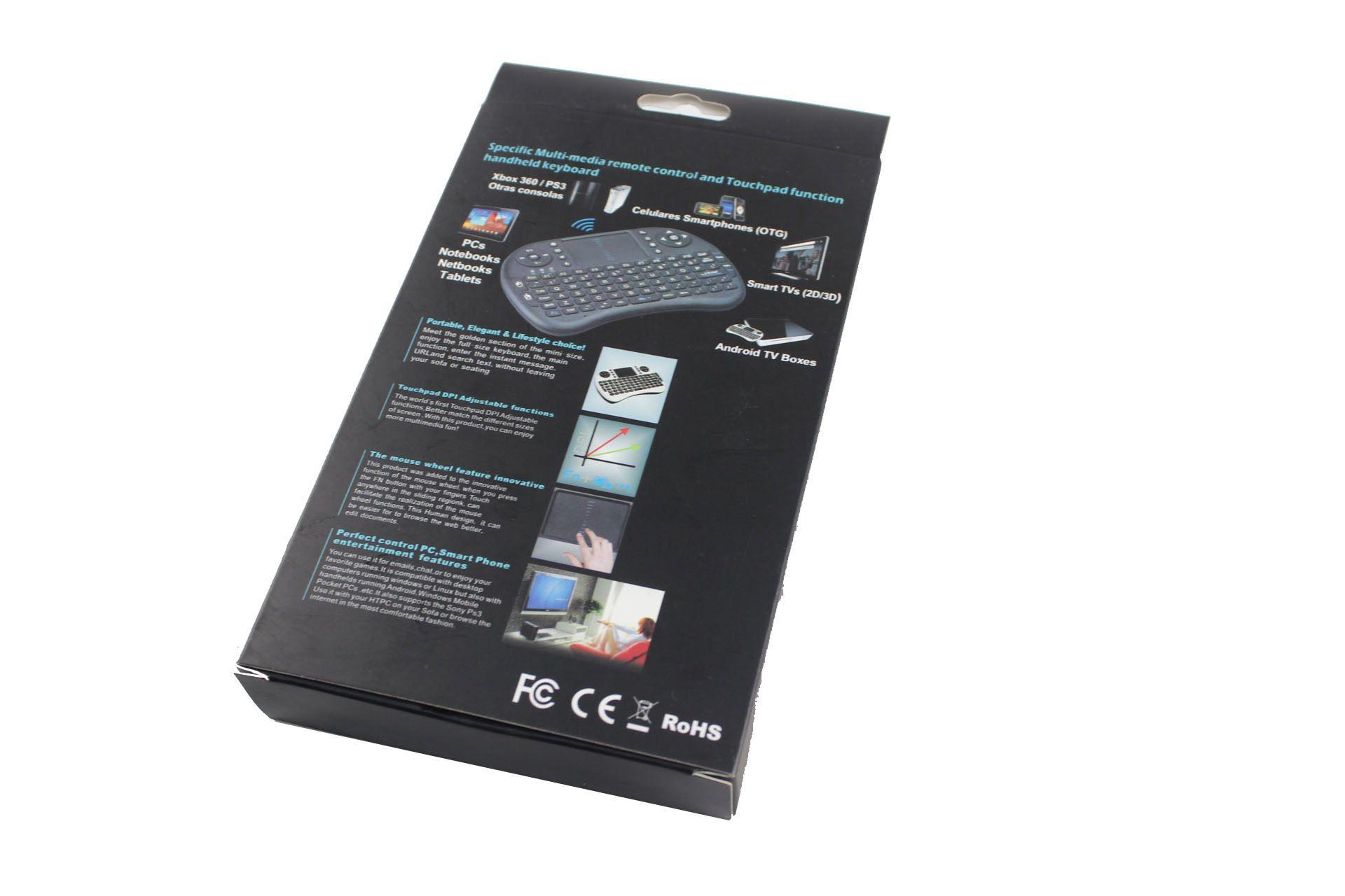 Fly Air Mouse I8 backlight إصدار بطارية الليثيوم 2.4G لوحة المفاتيح اللاسلكية التحكم عن بعد لوحة اللمس للكمبيوتر الدفتري Android TV Box
