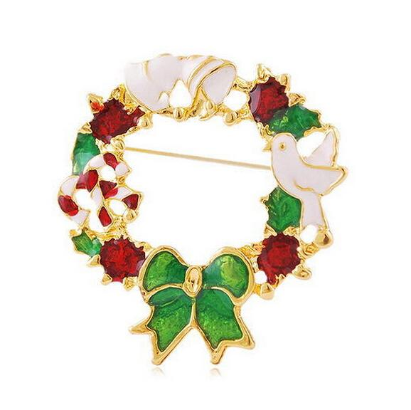!Gold Plated Multicolored Rhinestone Crystal Diamante Wreath Christmas Brooches and Pins For Christmas Party