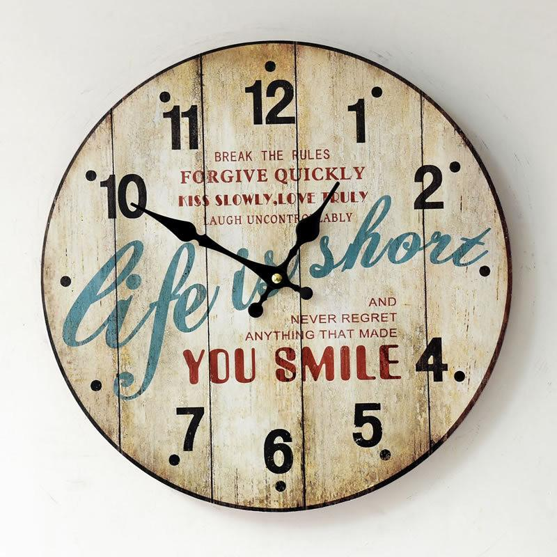 Life is short vintage wall clock 35 35 cm horloge murale for Reloj de pared vintage 60cm