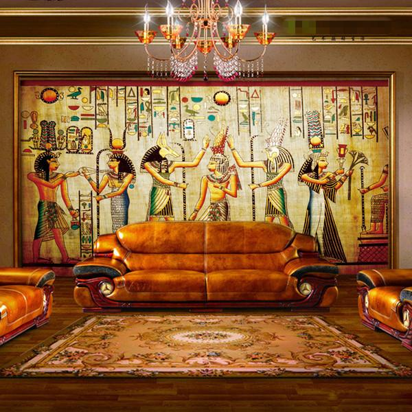 Wholesale ancient egyptian pharaoh photo wallpaper retro for Egyptian mural wallpaper