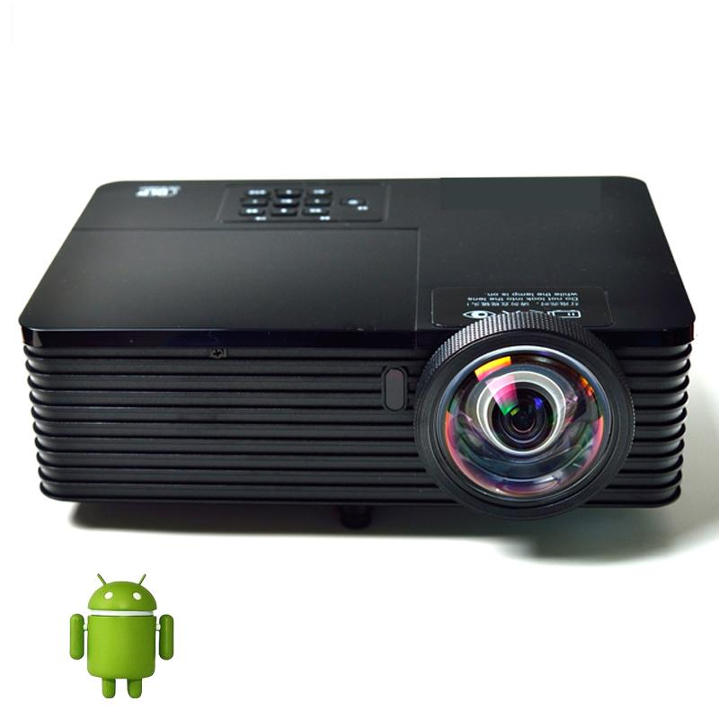 Wholesale-Best Quad core Android 4.4 WiFi Bluetooth 300inch 5800ANSI HDMI USB RJ45 Education Outdoor 1080P DLP 3D short throw Projectors