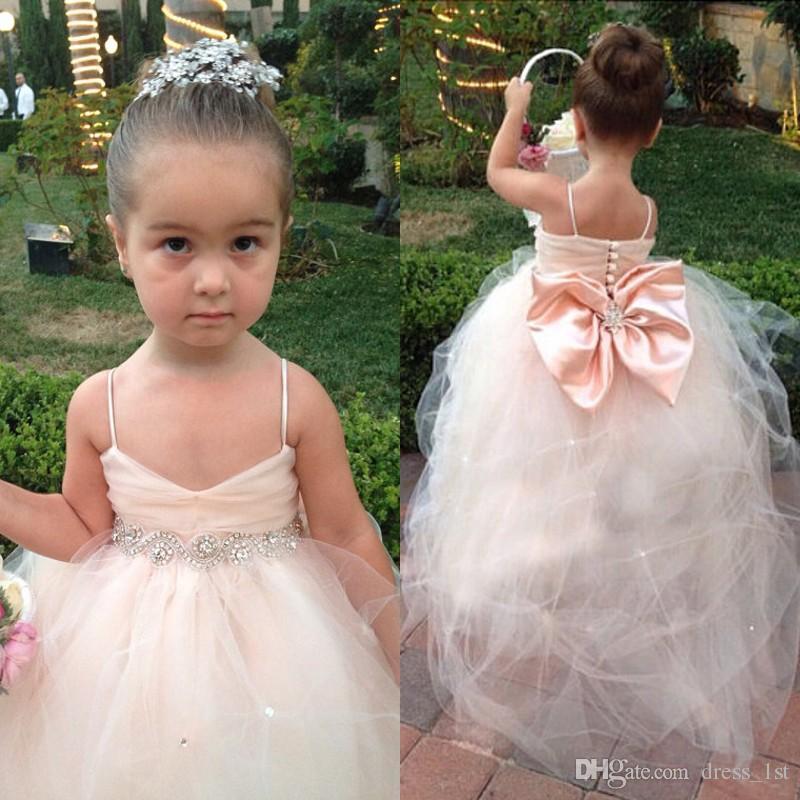 566aae4d6 Pageant Dresses For Girls Spaghetti Sleeveless Flower Girl Dresses White Ivory  Champagne Kids Ball Gowns Wedding Dress Sash Beading Belt Dresses For Girl  ...
