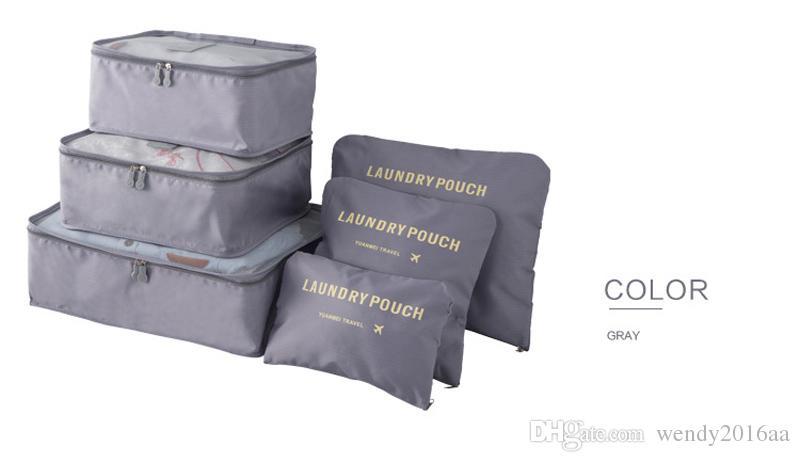Mode DateDouble Zipper Étanche Voyage Sacs Hommes Femmes Nylon Bagages Emballage Cube Sac Underware Soutien-Gorge Sac De Rangement Organisateur ensemble