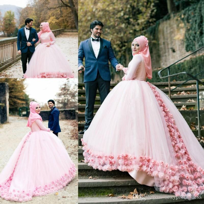 Muslim Wedding Gown Photos: Muslim Wedding Dresses 2018 Crew Long Sleeves Tulle Ball