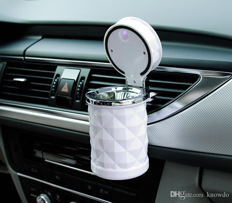 Luxury Car Accessories Portable Led Car Ashtray Universal Cigarette Cylinder Holder Car Styling Mini Carro Cinzeiro Free Shipping