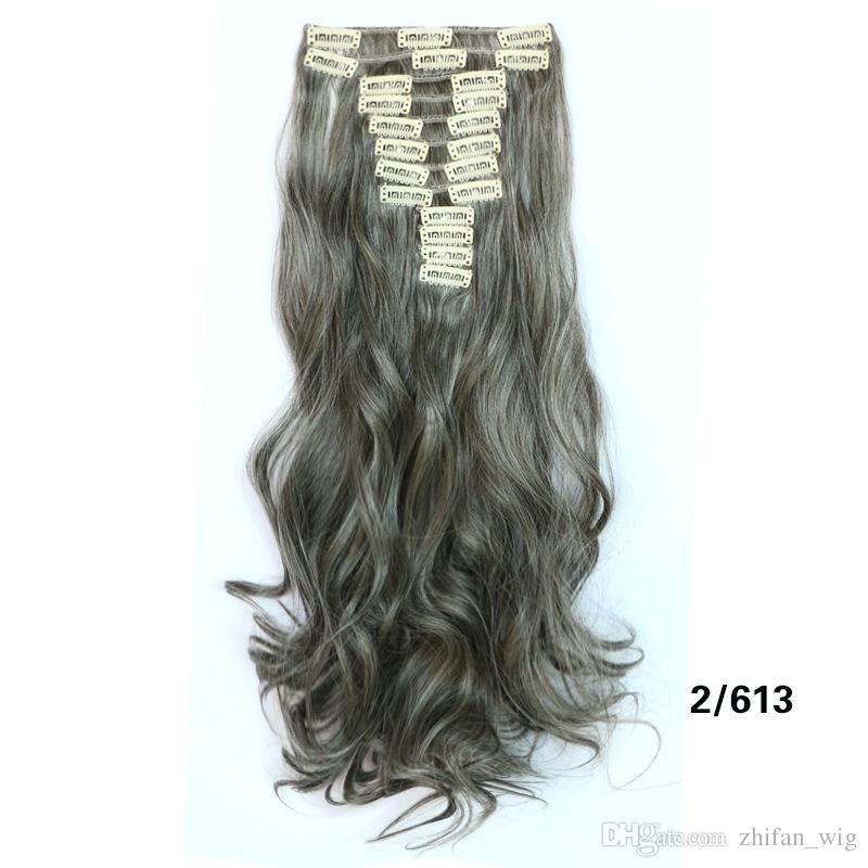 ZF haute qualité 55CM long clip en synthétique cheveux bouclés de cheveux épais Extensions / Set pour Full Head