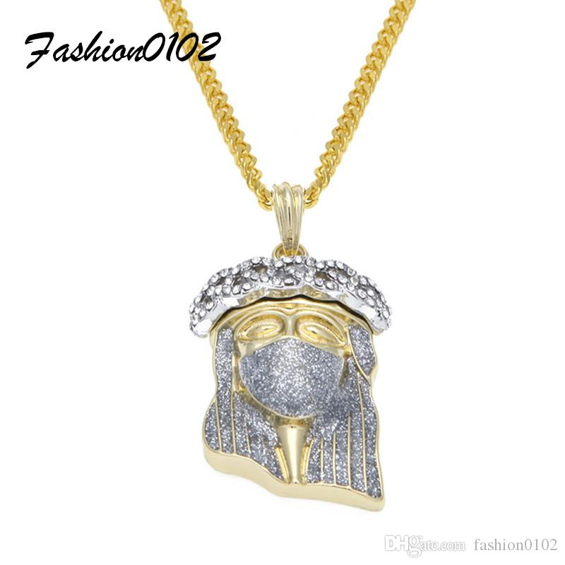 Wholesale silver masked jesus head pendant fashion punk jewelry iced wholesale silver masked jesus head pendant fashion punk jewelry iced out bling rhinestone gold plated hip hop pendant necklace cuban chain costume jewellery aloadofball Choice Image