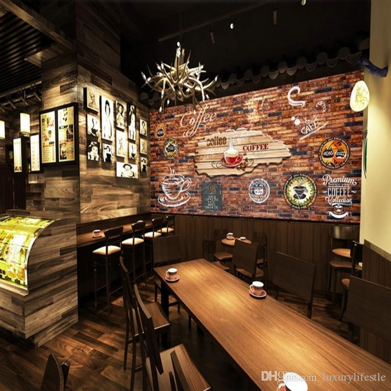 Bar Wallpaper: 3D Stereo Custom Retro Wallpaper Graffiti Brick Bar Cafe