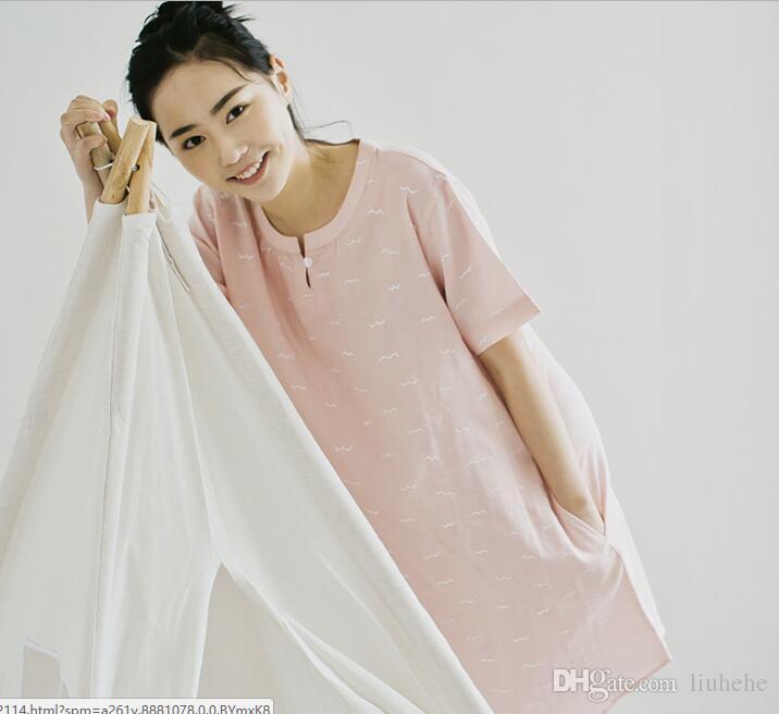 Ağustos Ge etek gazlı bez pijama ev basit bahar ve yaz kadın pamuk kısa kollu etek sang
