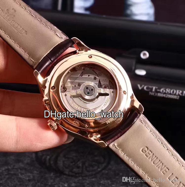 Yüksek Kaliteli MASTER ULTRA İNCE Q1378420 Beyaz Kadran 41mm Otomatik erkek İzle Safir Cam Deri Kayış Katlanır Toka Saatler