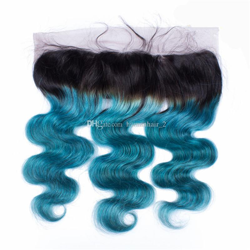 Ombre Blaues Menschenhaar Spitze Frontal Gebleichte Knoten 13 * 4 Ohr Zu Ohr Spitze Frontal Schließung Zwei Ton 1b Blau Frontal