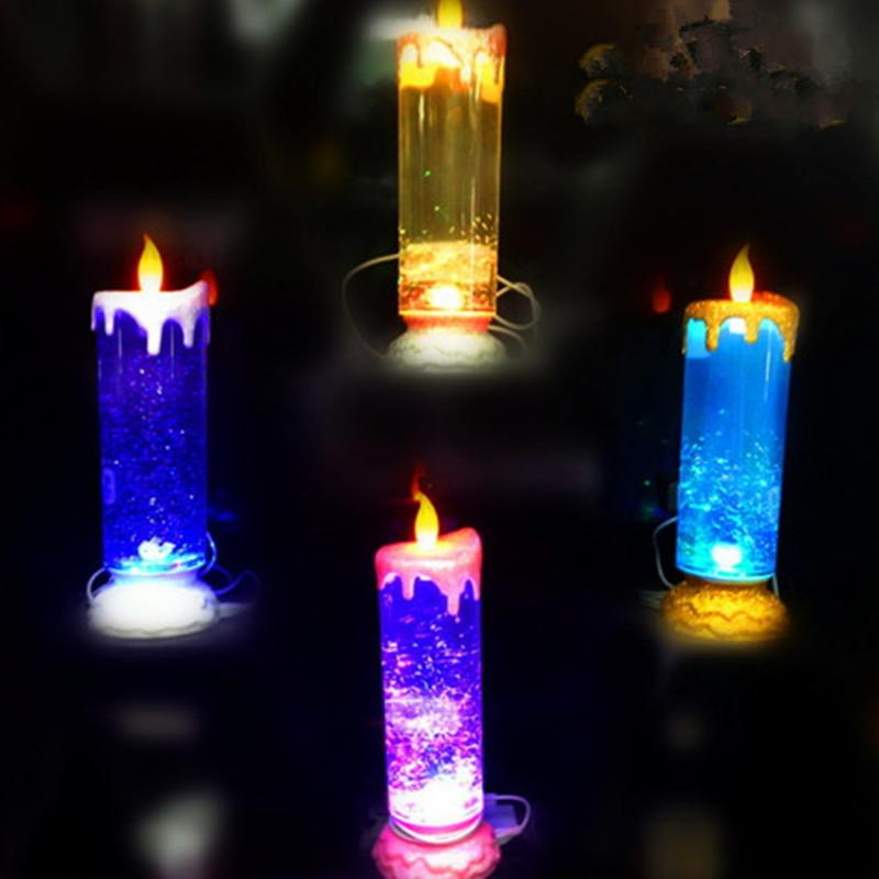 Usb Rechargeable Candle Lamps Creative Rotating Candle Led Night Light Wedding Christmas Decoration Bedroom Night Lights Halloween Party