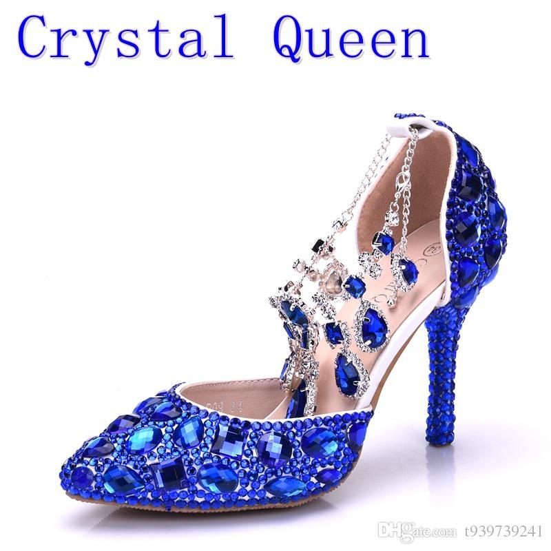 Crystal Queen Women Blue Rhinestone Crystal Wedding Shoes Graduation Party  Prom Shoes Nightclub Evening Bridal Sandals High Heel Sandal Ladies Shoes  From ... b64ddf3a64f8
