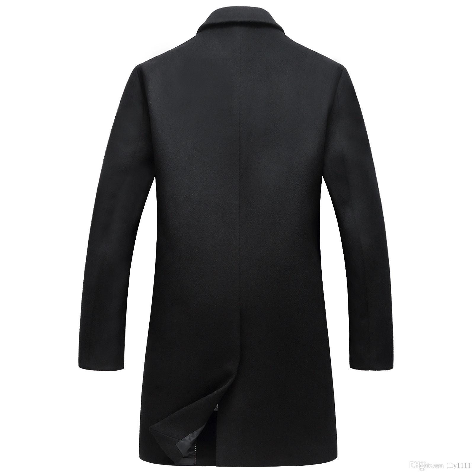 Shanghai Story Men's Wool Jacket Coat New Casaco Masculino Long Trench Coat Fahion Winter Peacoat Mens Overcoat