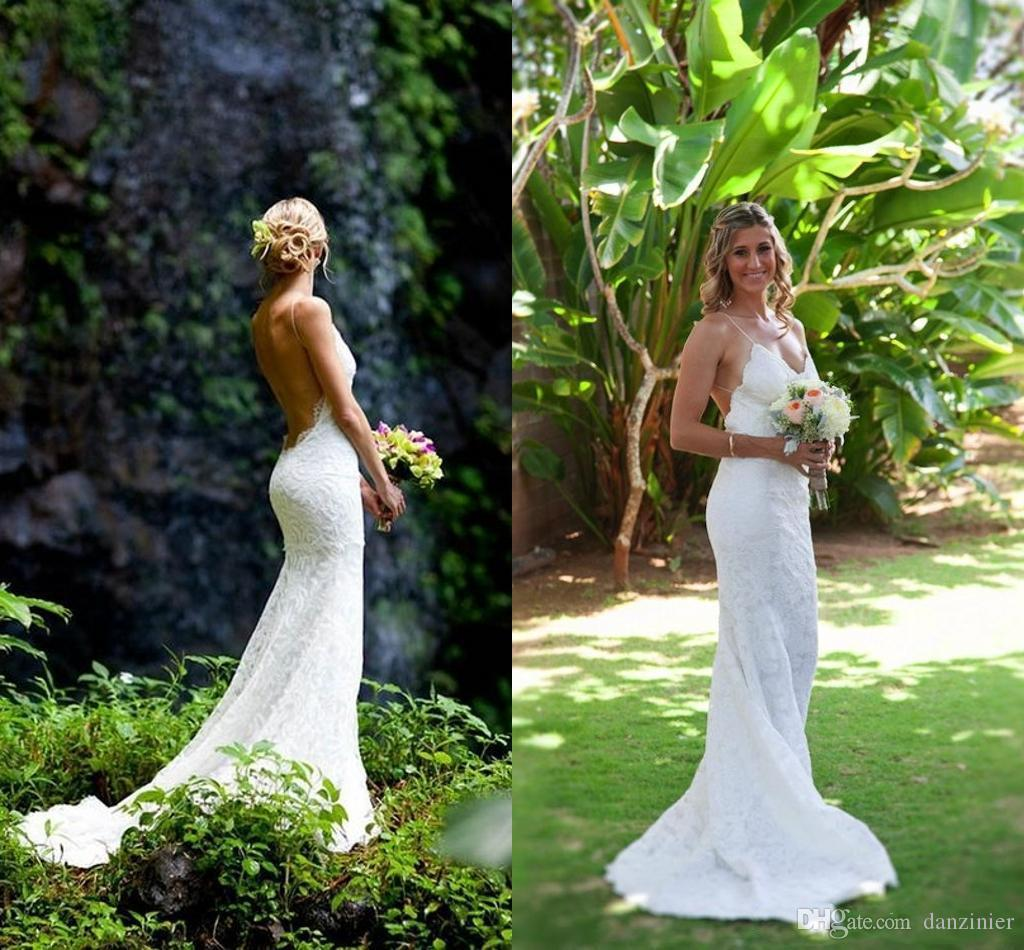 Discount Katie May 2017 Sexy Backless Spring Wedding Dresses Lace Spaghetti Sheath Garden Beach Sheer Summer Bridal Gowns For Party Mermaid