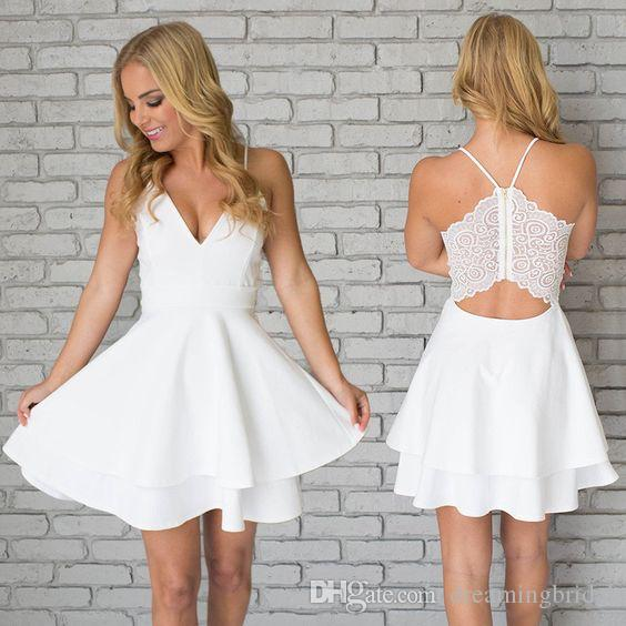 White Spaghetti Straps Sexy Back Short Prom Dresses Tired Sleeveless Homecoming Dresses Lace Dresses For Gowns