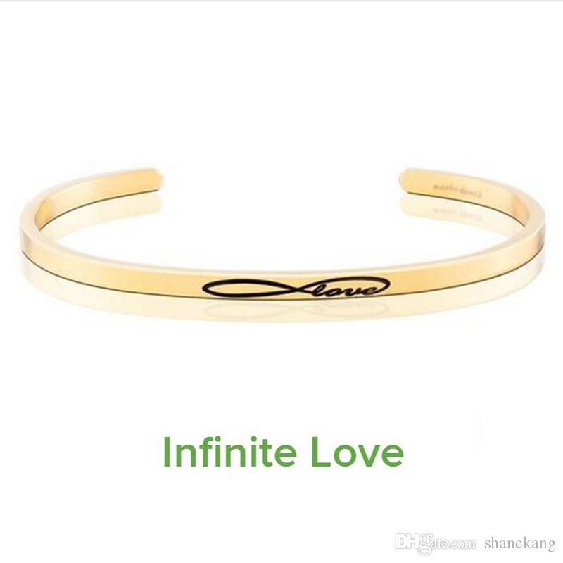 الذهب حساسة الكفة الإسورة حروف الحب للأبد مختوم سوار التيتانيوم الصلب الإسورة ملهمة للمرأة هدية