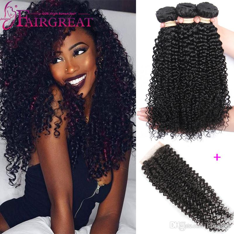 Virgin Brazilian Curly Hair With Closure Brazilian Human Hair Bundles With Closure  Brazilian Virgin Hair Weave Bundles With Closure Hairpieces For Women ... 0044109989