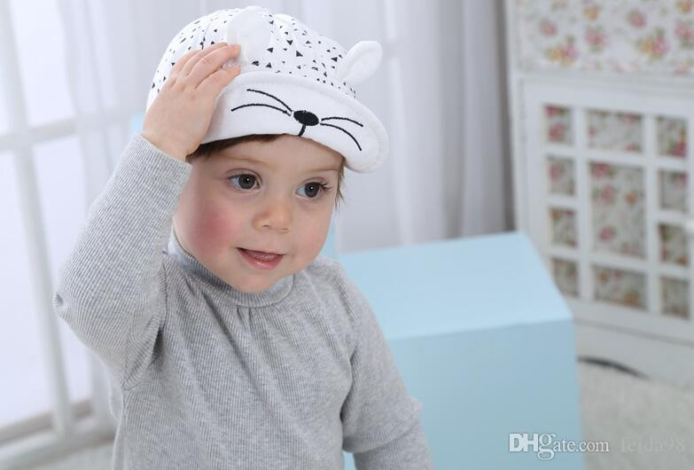 Bebê Chapéu Dos Desenhos Animados Do Gato Dos Miúdos Boné de Beisebol Da Palma Do Bebê Recém-nascido Menino Menina Gorros de Algodão Macio Caps Viseiras Infantis Chapéu de Sol G596