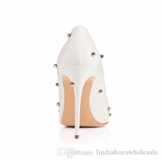 New White Women Wedding Shoes High Heel Pumps Rivets Pointy Toe Stilettos Slip On Evening Party Shoes Lady Elegant Shoes