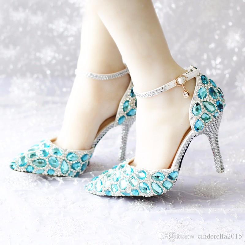 2017 Primavera e Verão Sapatos de Strass Azul Com Saco de Correspondência Mulheres Nupcial Do Casamento Dedo Apontado Sapatos de Salto Alto com Tira No Tornozelo Stiletto