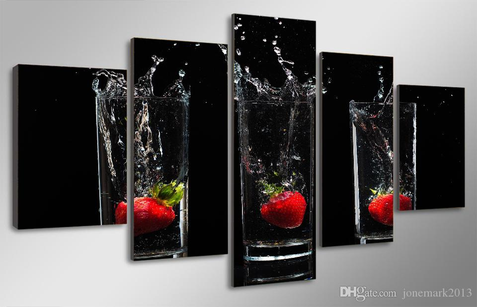 Framed HD Printed Strawberry cup Painting on canvas room decoration print poster picture canvas /ny-2014